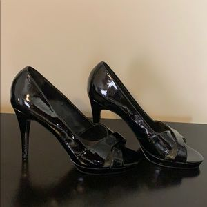 Black peep toe heels